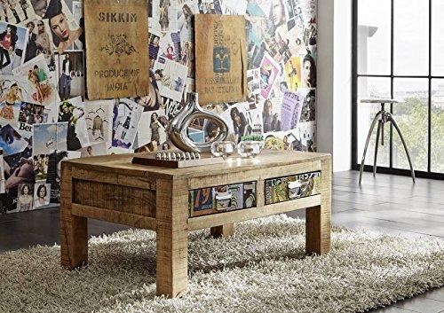 MASSIVMOEBEL24.DE Mangoholz massiv Holz Möbel Vintage lackiert Couchtisch 90x60 Massivmöbel vollmassiv Holz Mehrfarbig Detroit #43