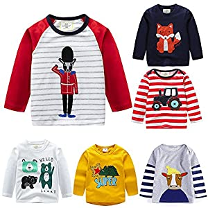 PLOT Clearance Baby Girls Boys Long Sleeve Clothes Cartoons Shirt Clothing Outfit 1-6T
