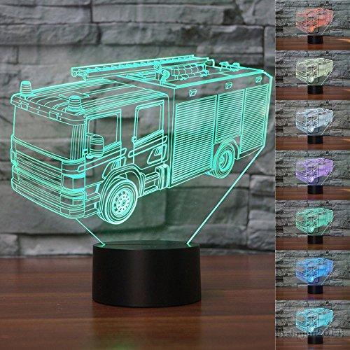 3D Feuerwehr Auto Optische Illusions-Lampen, Tolle 7 Farbwechsel Acryl berühren Tabelle Schreibtisch-Nachtlicht mit USB-Kabel für Kinder Schlafzimmer Geburtstagsgeschenke Geschenk -