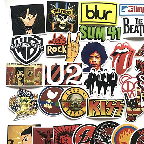 Luckyx 52 Stück Rock-and-Roll-Musik-Band-Aufkleber-Keine Doppelten Aufkleber, Laptop-Aufkleber, Autoaufkleber Aufkleber Graffiti Gitarre Skateboard Vinyl Aufkleber, Koffer Aufkleber (Klavier-musik-dekorationen)