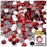 La artesanía de salida 10000-piece soporte de espalda redonda Rhinestones, 6mm, Diablo Rojo Vino