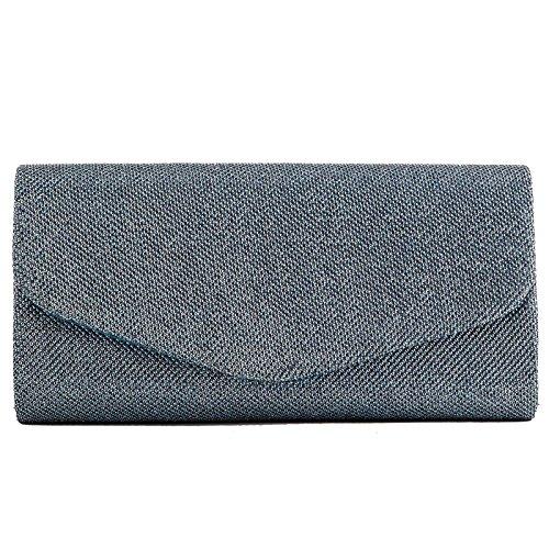 Toocool - Borsa donna Pochette handbag lurex baguette clutch tracolla nuova YL-1699 Azzurro
