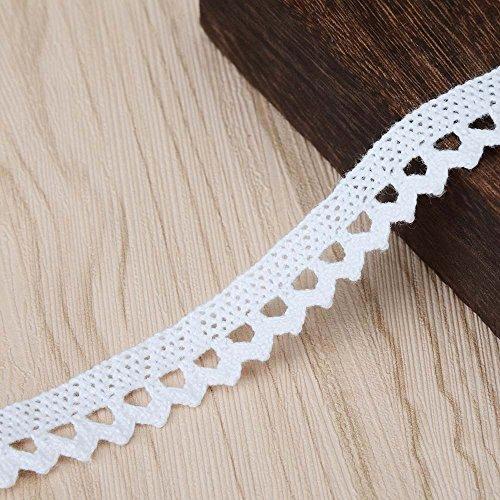 Vu100 stile vintage lace trim, 100% cotone crochet nastro ricamato tessuto per applique cucito artigianale abito da sposa party (one pack 9,1m 3cm wide bianco)