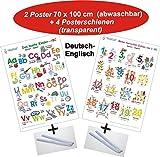 Das bunte Kinder-ABC + Meine tierischen Zahlen von 1-20 Deutsch/Englisch + Posterschienen: 2 Lernposter, gerollt, abwaschbar + UV-Lack beschichtet + 4 Posterschienen