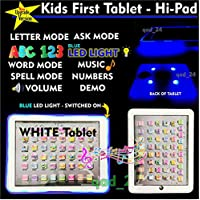 LED LIGHT UP - Kids Tablet PAD TAB Educational Toy Fun Xmas Gift for Girls Boys by A2B (WHITE)