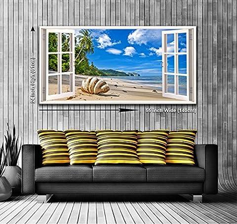 Coquillages sur la plage Toile murale Motif vue de une fenêtre panoramique encadrée art print XXL 139,7x 61cm Plus de 4,5m de large x 2cm de haut prêt à accrocher