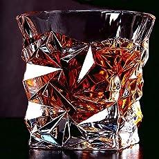 Buyer's Stop Italian Luxury Crystal Diamond Cut Design Touch Seamless Scotch Glasses - Set of 6 Pc/10Oz/300ml (AA701)