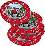 8 Teller * FEUERWEHR * für Mottoparty und Kindergeburtstag von TIB // Kinder Geburtstag Party Fete Set Jungen Pappteller Partyteller Plates Fire Fighter