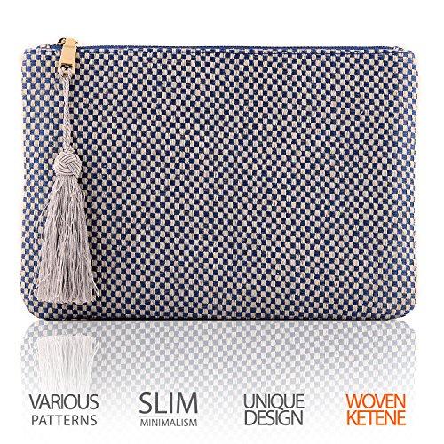 OTTO Pochette di Design da Donna in tessuto con Nappina sulla Zip - Perfetta per organizzare la borsa, per trucchi, chiavi, specchietto e carte di credito, come pochette per la sera - Leggera e compat Punto blu scacchiera