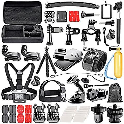 Neewer® 53-In-1 Sport Accessory Kit for GoPro Hero4 Session Hero1 2 3 3+ 4 SJ4000 5000 6000 7000 Xiaomi Yi Sony Olympus Action Cam in Skiing Climbing Bike Riding Camping and Other Outdoor Sports