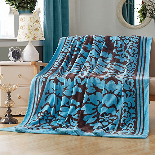 ZHFC le cachemire pur coton grand serviette serviette quilt épaississement double couverture loisirs climatisation couverture 180x210cm,paon bleu
