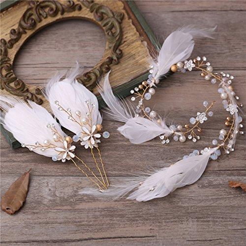 XPY&DGX Bridal Hochzeit Ballsaal Haarnadel Haarschmuck Bridal Tiara koreanischen Feder Kopfband Haarband süßes Smart Haar Hochzeit Kleid Hochzeit Zubehör Zubehör, 003