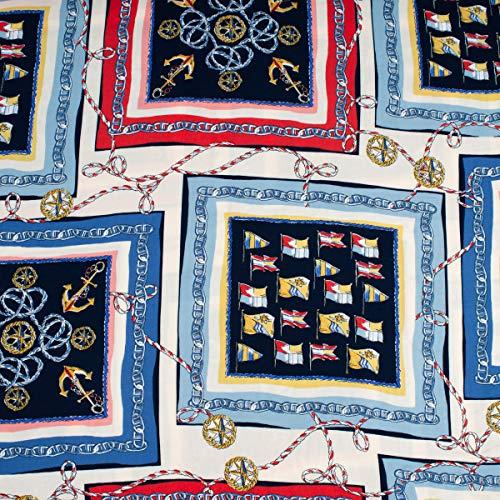 SCHÖNER LEBEN. Bekleidungsstoff Blusenstoff Viskose Anker Flaggen Tau in Rahmen Creme dunkelblau blau rot gelb 1,45m Breite