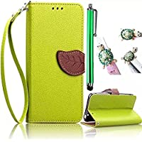 Vandot 3D Leaf Custodia per Asus ZenFone 2 Laser ZE500KL PU Wallet Pelle, Cuoio Raccoglitore Vibrazione Flip Leather Copertura Card Slot Skin Protectiva Cristallo Case Cover Multifunctional Luxury Bumper + Bling Strass Leopardo Anti Polvere + Shinning Metallo Penna Stilo,Verde Fogliame