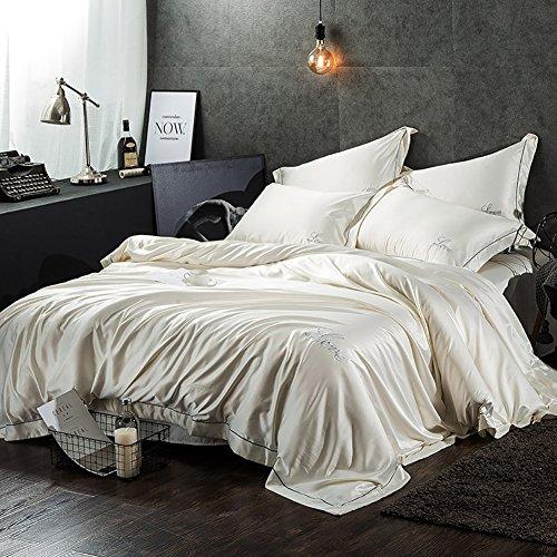 Europäische Einfache Solide Duplex Silk 4stück, Bettwäsche Stickerei Silk Betten Hotel-Stil Silk Eis Seide Kit-B King (Stickerei King Hotel)