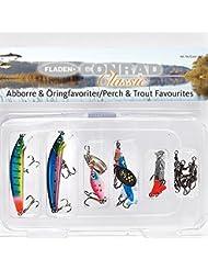 Fladen–5piezas Pike Conrad Classic Jointed enchufe cebo Lure Pack en su propia caja de pesca de–10cm de 13cm–viene con 3anzuelos para lucio y depredadores [16–2578]
