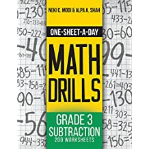 One-Sheet-A-Day Math Drills: Grade 3 Subtraction - 200 Worksheets (Book 6 of 24)