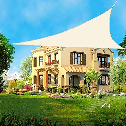 Greenbay Voile d'ombrage Triangulaire | 3x3x3m Crème | Une Protection des Rayons UV | Toile d'ombrage Auvent Pare-soleil de Jardin
