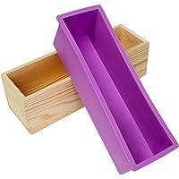 Moule en silicone rectangulaire pour production artisanale de 1,2 kg de savon, livré avec une boîte en bois violet