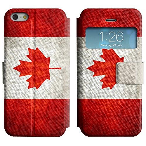 Graphic4You Vintage Uralt Flagge Von Kanada Kanadier Design Leder Schützende Display-Klappe Brieftasche Hülle Case Tasche Schutzhülle für Apple iPhone 5 und 5S Kanada Kanadier