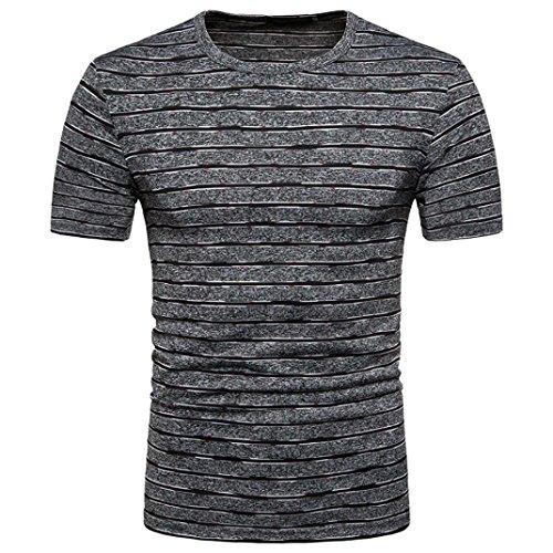 Angebote,Neue Deals,Herren T-Shirt Ronamick Kurzarm T-Shirt basic Einfarb00ig Runde Kragen Slim Fit (Grau, L)