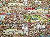London Map Print Baumwolle Canvas Stoff