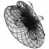McBURN Crynol Fascinator mit Federn Haarschmuck Kopfschmuck Anlasshut Kopfschmuck Frühjahr Sommer Herbst Winter Damen (One Size - schwarz)