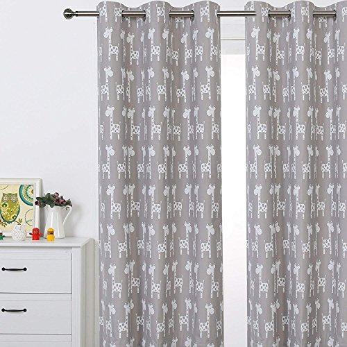 Sherwood Giraffe Öse Vorhang Verdunkelung Tülle beschichtet Fenster Panel Drapes für Kinder Mädchen Jungen Schlafzimmer, One Panel... Taupe Taupe - Jungen Vorhang-panels