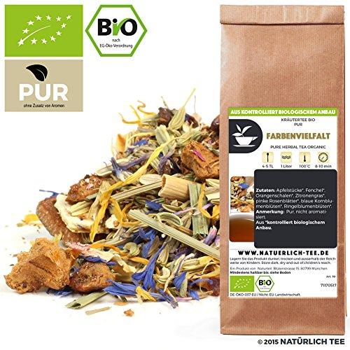 NATÜRLICH TEE - BIO KRÄUTERTEE FARBENVIELFALT - BIOTEE, PUR, KRÄUTERMIX, KRÄUTER TEEMISCHUNG, Organic Herb Tea Composition Of Colours, Herbal Tea Blend- 100G