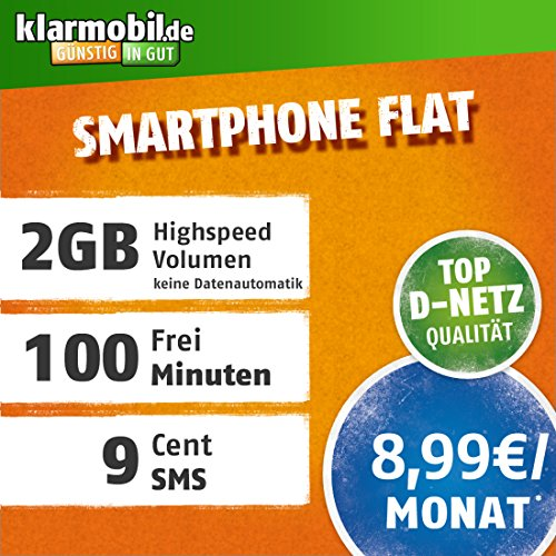 klarmobil Smartphone Flat L mit 2 GB Internet Flat max. 42,2 MBit/s, 100 Frei-Minuten in alle deutschen Netze, EU-Roaming, 24 Monate Laufzeit,  monatlich nur 8,99 EUR, Triple-Sim-Karten