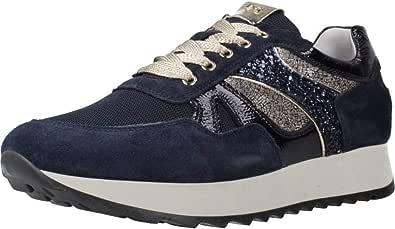 Nero Giardini Sneaker Donna di Colore Blu con Inserti in Oro Laminato e Glitterato Articolo A9 08900 D 207