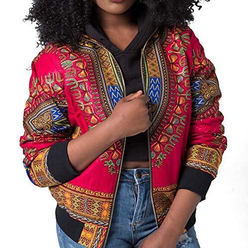 URSING Damen Mantel Mode Lange Ärmel Afrikanisch Drucken Dashiki Kurze Jacke Outwear mit Stehkragen Freizeitjacke Übergangsjacke...