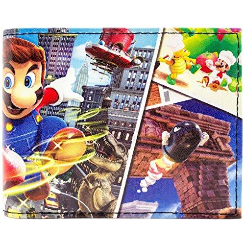 Super Mario Odyssey mehrere Welten Schwarz Portemonnaie Geldbörse