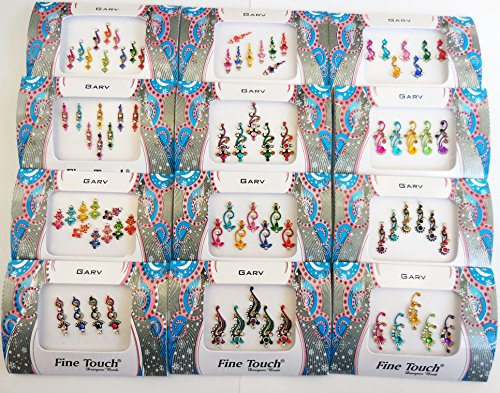 4 Packs- Pure Crystal Multicolored Multi Size Mix n Match Face Jewels Bollywood Stickers Indian Bindi (Die Unglaublichen Kostüm Designer)
