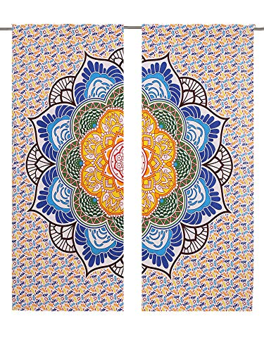 Blumen Mandala Vorhang Set Boho Bohemian Mandala Vorhang Panel Set, Mandala Gardinen Panels Paar 82Länge Set of 2, Boho dekorativen Gardinen Fenster Vorhang Fenster Behandlung Platten Set groß Full -