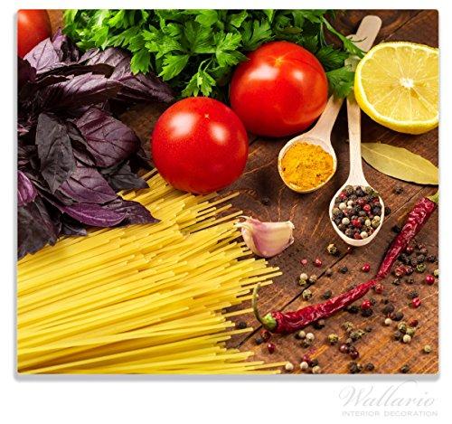 Wallario Herdabdeckplatte / Spitzschutz aus Glas, 1-teilig, 60x52cm, für Ceran- und Induktionsherde, Italienisches Menü mit Spaghetti, Tomaten, Basilikum und Gewürzen