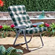 Garden Reclining Recliner Chair - Silver Adjustable Multi Position Foldable Frame with Classic Cushion (Green Check)