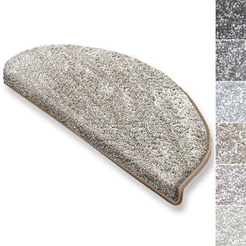 casa pura Stufenmatten Sundae | viele Varianten | Treppenteppich mit kuschlig weichem Flor | kombinierbar mit passenden Läufern | Beige - Halbrund - 15 Stück Set