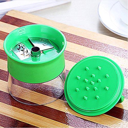 Mini Küchenmaschine Premium Klein Spiralschneider Hand für Gemüsespaghetti Kartoffel BÜNDEL Kochbuch mit die Bürste für die Reinigung-Zucchini,Gurkenschneider,Gurkenschäler,Möhrenreibe,Möhrenschäler,Gemüsehobel Grün - 4