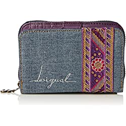 Desigual - MAGNETIC ETHNIC DELUXE, Billetera Mujer, Azul (5001), 13.50x9x2.50 cm (B x H x T)