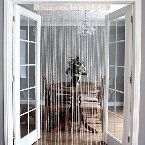 HWI Arbeitshandschuh, Glitzer, Fadenvorhang, 35x 79cm, für Fenster, Tür-mit Easy-Top, Textil, cremefarben, 35