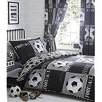Shoot Football Duvet Cover and Pillowcase Bed Set, Polyester-Cotton, Grey, Single