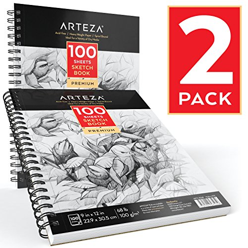Arteza Skizze Bücher 9 x 12 - Sketch book 2 pack - 200 sheets