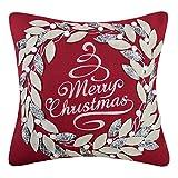 KINGROSE Weihnachten Kranz Stickerei Dekorative Quadratische Wolle Kissenbezüge Zuhause Bett Wohnzimmer Büro Sofa Auto Stuhl Couch Geschenke 18 x 18 Zoll Rot