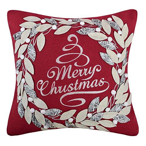 KINGROSE Weihnachten Kranz Stickerei Dekorative Quadratische Wolle Kissenbezüge Zuhause Bett Wohnzimmer Büro Sofa Auto Stuhl Couch Geschenke 18 x 18 Zoll Rot -