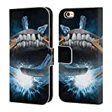 Head Case Designs Offizielle Tom Wood Hockey Monster Brieftasche Handyhülle aus Leder für iPhone 6 / iPhone 6s