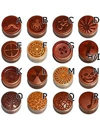 Fly Style® - 1 Stück - Handgefertigte Flesh Tunnels Ohr Plugs aus Holz mit verschiedenen gelasertem Motiven