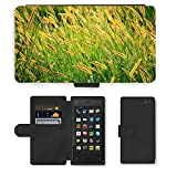 PU Leder Wallet Case Folio Schutzhülle // M00155176 Grassamen Goldene Samen Lange Seeds // Amazon Fire Phone