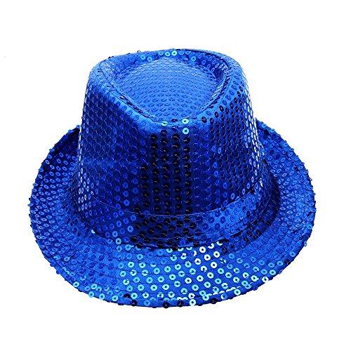 VRTUR Paillettenhut Pailettenhut Pailletten Hut Disco-Hut Clubstyle Partyhut Trilby Hut Blink Fedora Bogart Glitzerhut Glitter(One size,Blau)