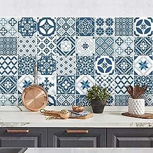 24 pieces carrelage adh sif 20x20 cm ps00065 bleu profond adh sive d corative carreaux. Black Bedroom Furniture Sets. Home Design Ideas
